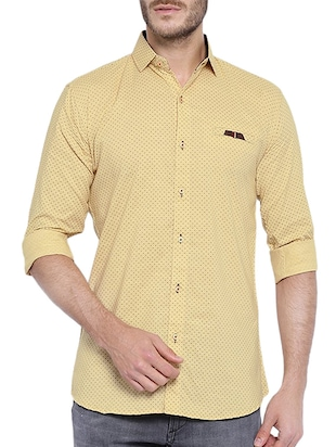 yellow cotton printed casual shirt -  online shopping for casual shirts