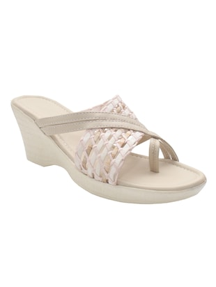beige leatherette wedges -  online shopping for wedges