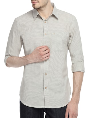 grey cotton striped casual shirt