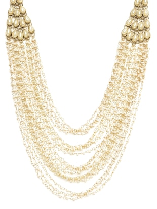 Long Beaded Ethnic Pearl Necklace