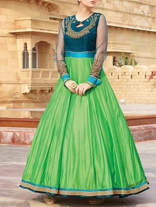 green silk blend gown dress