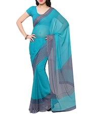 blue chiffon printed saree -  online shopping for Sarees