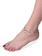 Silver Embellished Floral And Smiley Shaped Anklet - By