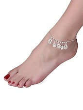 Silver Crystal Embellished Tear Drop Anklet - By