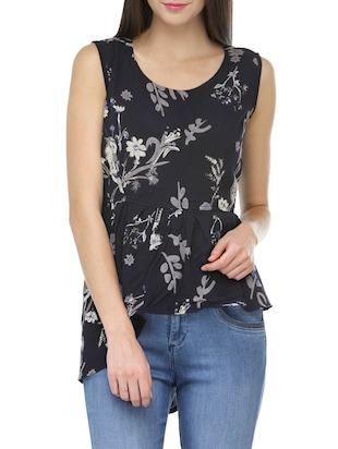 navy blue printed crepe top