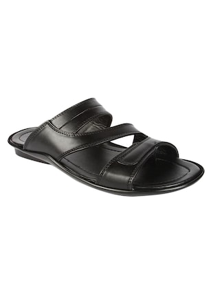 black leatherette slip on sandal