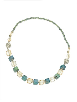 multi crystal heavy statement necklace