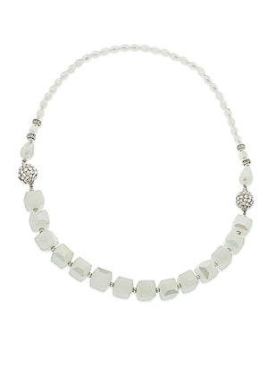 white crystal heavy statement necklace