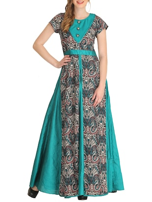 green crepe flared kurta