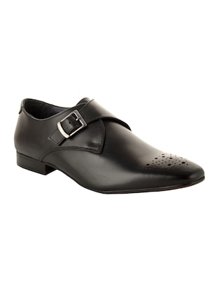 Black Leather slip on monk strap