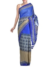 Blue Poly Cotton Saree - By