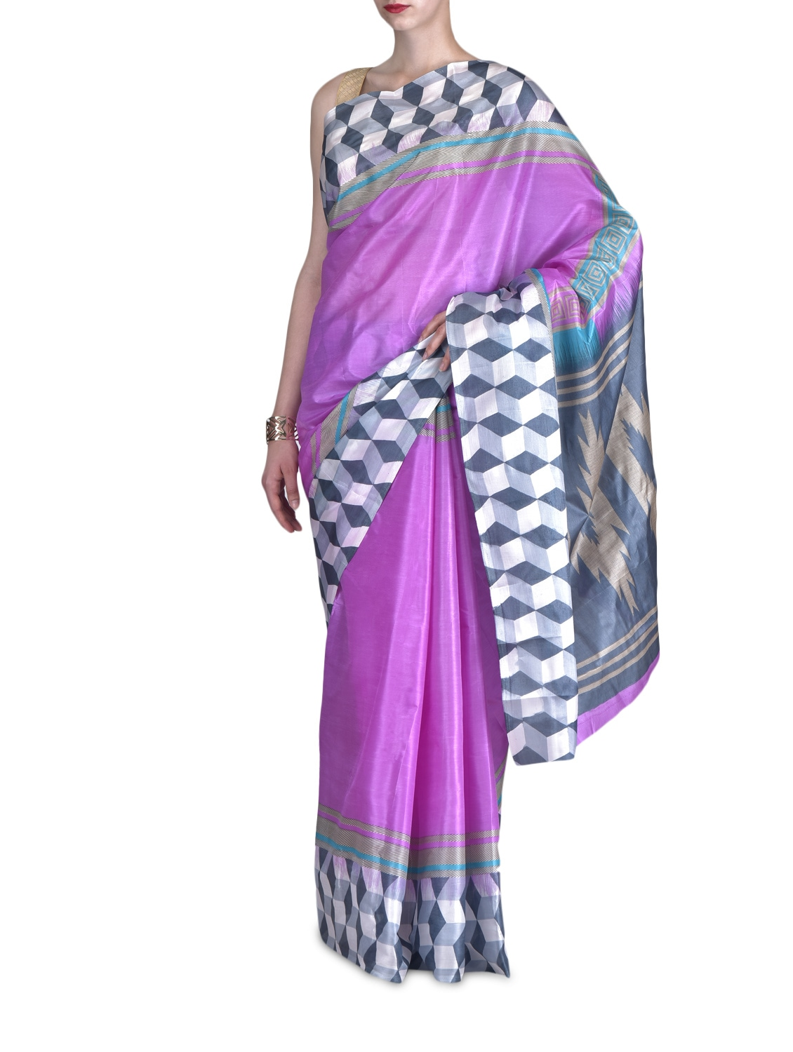Purple Art Silk Saree - By