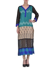 Multicolored Printed Chanderi Kurta With Lace Work - By