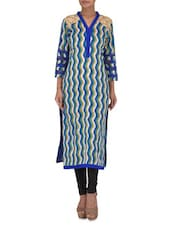 Multicolored Printed Cotton Kurta With Lace Work - By