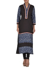 Black And Blue Printed Cotton Kurta - By