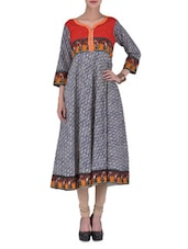 Monochrome Printed Cotton Anarkali Kurta - By