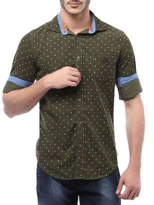 green cotton polka dots casual shirt