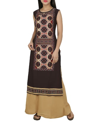 brown none straight kurta