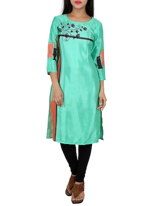green crepe printed straight kurta