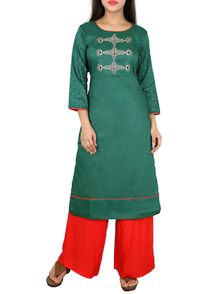 green silk straight kurta