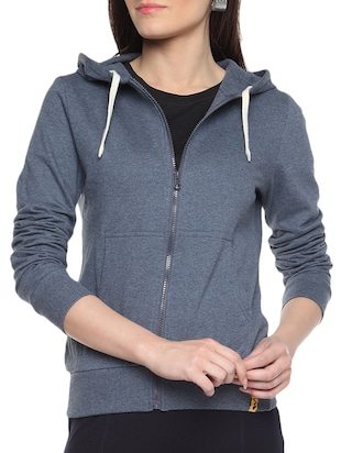 grey Cotton Zipper Hoodie