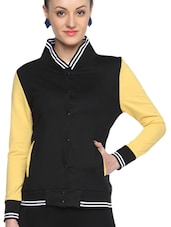 Black Cotton Solid Long Sleeves Varsity Jacket - By