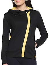 Black Cotton Solid Long Sleeves Jacket With Pockets - By