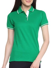 Green Cotton Solid Short Sleeves Polo Neck T Shirt - By