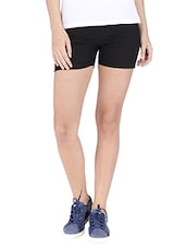 Black Cotton Solid Chino Shorts - By