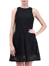 Black Plain Poly Lace Dress - By