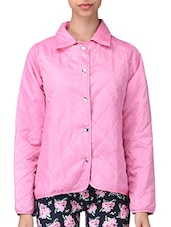 Pink Plain Polyester Jacket - By - 1294701