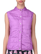 Purple Plain Polyester Jacket - By