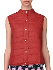Red Plain Polyester Jacket - By