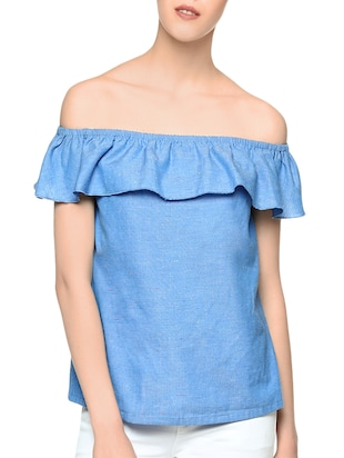 blue cotton regular top