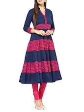 blue cotton flared kurta -  online shopping for kurtas