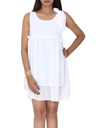 white georgette layered dress
