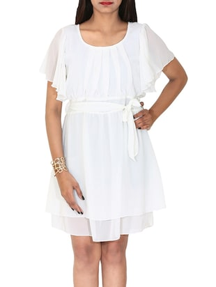 white georgette belted dress