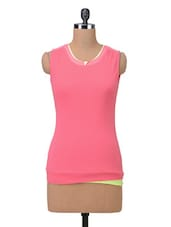 Pink  Cotton Solid Casual Top - By