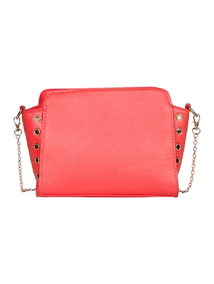 pink leatherette solid sling bag