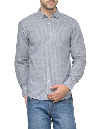 grey cotton checked casual shirt