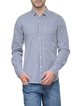 blue cotton checked casual shirt