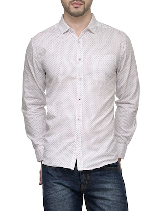 white cotton printed casual shirt