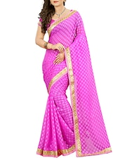 purple cotton blend woven saree -  online shopping for Sarees
