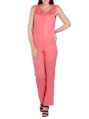 pink polyester full leg  jumpsuit