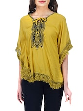 yellow embroidered crepe regular top -  online shopping for Tops