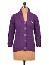 Solid Purple Collared Woolen Cardigan - By