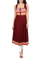 maroon rayon flared kurta -  online shopping for kurtas