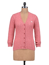 Coral Pink V- Neck Woolen Cardigan - By