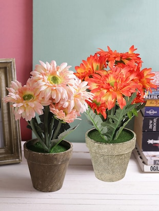 Set of 2 Orange & Pink Shade Guldaudi Style Artificial Plants with Pot
