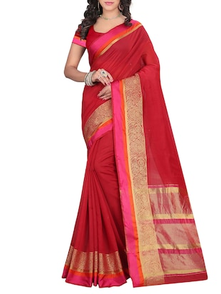 Red Cotton Bordered Saree